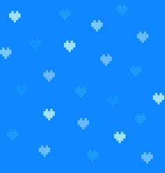 Blue 8-bit cute background with hearts vector