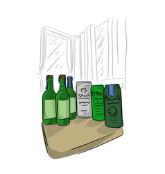 bottle and can beer on table in room vector image
