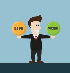 Businessman balance life and work vector