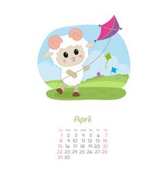 Calendar 2018 months april with sheep vector