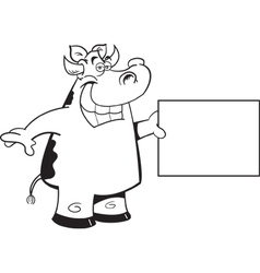 Cartoon Cow Holding a Sign vector image