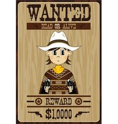 Cartoon cowboy wanted poster vector