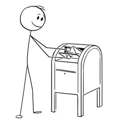 cartoon man dropping envelope or letter in the vector image