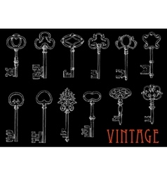 Chalk sketches of vintage keys on blackboard vector image vector image