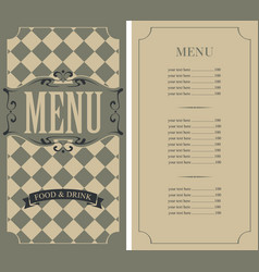 checkered menu for restaurant with price list vector image