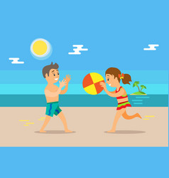 Children boy and girl playing with ball coastline vector
