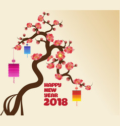 chinese new years lantern decoration for blossom vector image