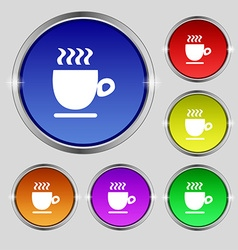 Coffee cup sign Round symbol on bright colourful vector