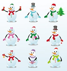 Colorful snowmen vector