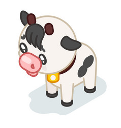 cow cub isometric 3d cute beef baanimal cartoon vector image