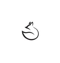 creative abstract fox black lines logo symbol vector image