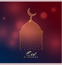 Creative mosque design for eid mubarak festival vector