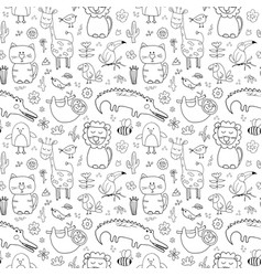 cute animals seamless pattern cartoon hand drawn vector image