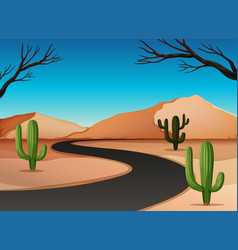 Desert land with road vector