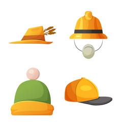 design of headwear and cap icon set of vector image