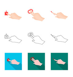 design of touchscreen and hand icon vector image