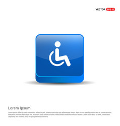 Disabled person icon - 3d blue button vector
