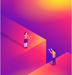 Distant romantic relationship in isometric style vector