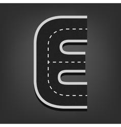 E letter Road font vector