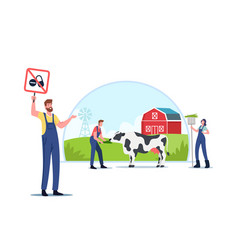 Ecology oriented cattle growing eco farming vector