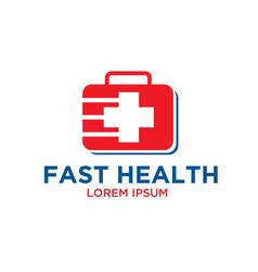 Fast medicine logo designs vector