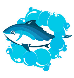 fish in water bubbles vector image