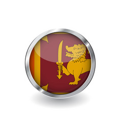 flag of sri lanka button with metal frame and vector image