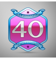 Forty years anniversary celebration silver logo vector image