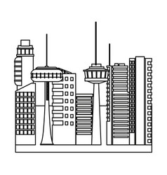 Futuristic city town center with towers cityscape vector