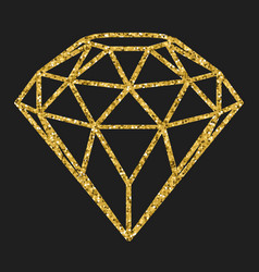 Geometrical golden glitter diamond isolated on vector