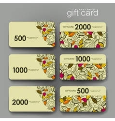Gift coupon discount card template with autumn vector