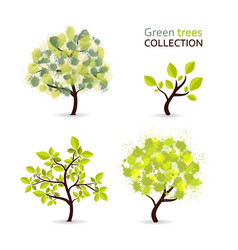 Green tree collection with different stylized vector
