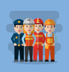 group workers people differents profession vector image