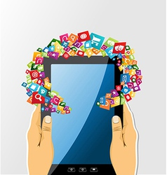 Human hands holds tablet pc app icons vector