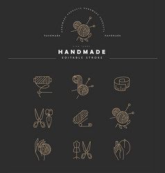 icon and logo sewing and handmade editable vector image