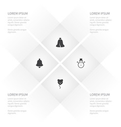 Icon holiday set of bell holiday christmas and vector