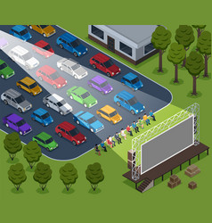isometric cinema outdoor composition vector image