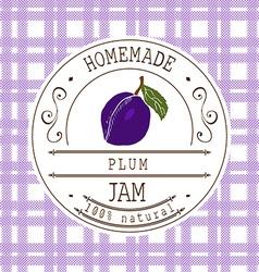 jam label design template for plum dessert product vector image
