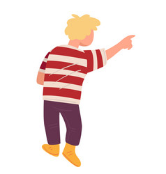 Kid pointing in distance child gesturing male vector