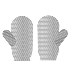 Knitted warm mittens Wool Winter clothing vector image