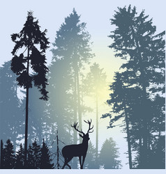 Landscape with silhouette forest trees and deer vector