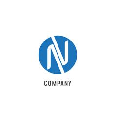 Letter n alphabetic logo design template nv abjad vector
