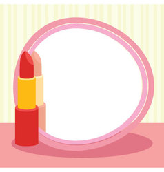 Lipstick and mirror vector image
