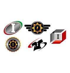 Logotype i modern template set vector