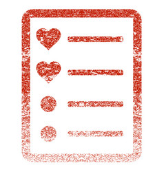 Love list page grunge texture icon vector