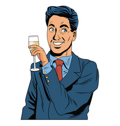 man with champagne cup pop art vector image