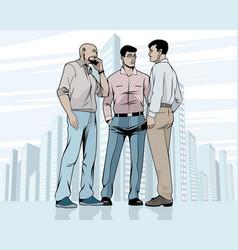 meeting men outdoors vector image