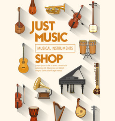 music shop musical band instruments vector image