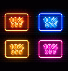 Neon 10 off text banner color set night sign vector