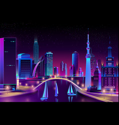 Neon megapolis on water yacht regatta vector